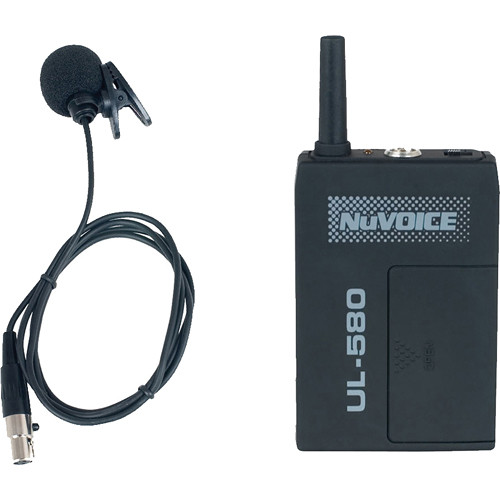 NuVoice ULBP-580 Bodypack Transmitter with Lavalier Mic for the 580 Wireless System (Frequency R)