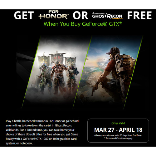 NVIDIA For Honor OR Ghost Recon: Wildlands Promotional Bundle