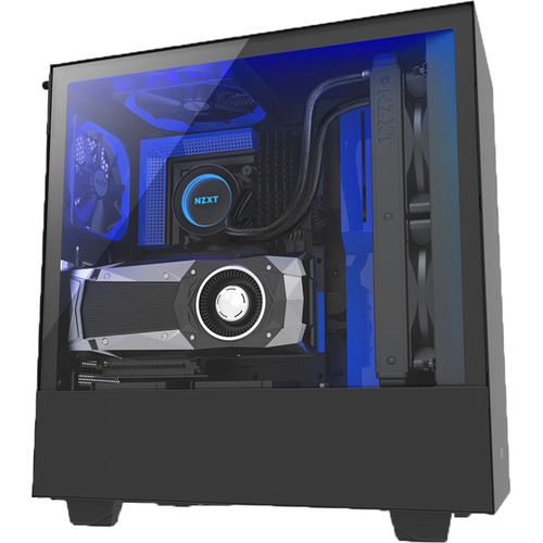 NZXT Case with Lighting and Fan Control (Black/Blue)