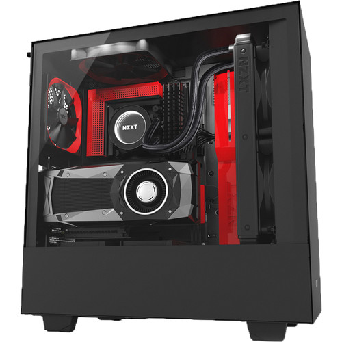 NZXT Case with Lighting and Fan Control (Black/Red)
