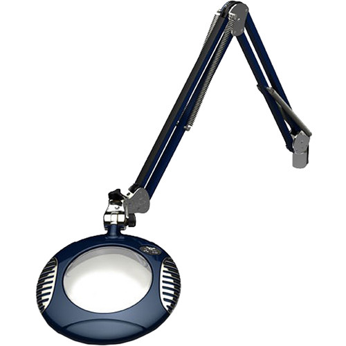 O.C. White 6'' Green-Lite LED 2x Magnifier with Crown White Optical Glass and Table Edge Clamp (43'' Reach, Spectre Blue)