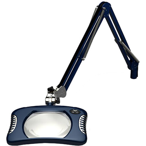 O.C. White 7 x 5.25'' Green-Lite Rectangle LED 2x Magnifier with Crown White Optical Glass and Table Edge Clamp (43'' Reach, Spectre Blue)
