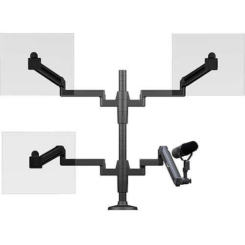 O.C. White Ultima Triple Monitor Arm & Microphone Boom SMS Package (4-14 lb Load)