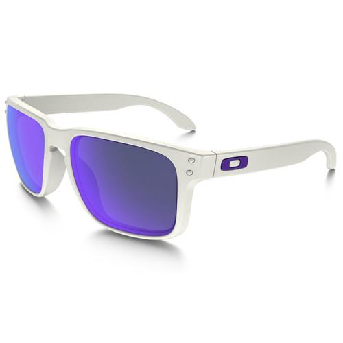 Oakley Holbrook Sunglasses (White Frames, Violet Iridium Lenses)