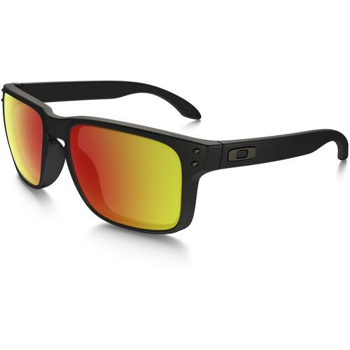 Oakley Holbrook Sunglasses (Matte Black Frames, Ruby Iridium Lenses)