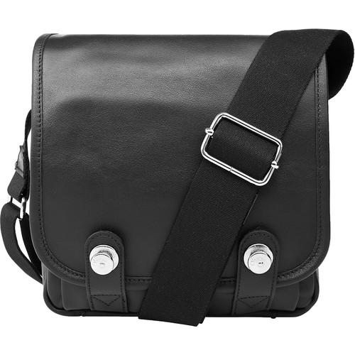 Oberwerth Boulevard Compact Leather Photo Bag (Black Lining/Red Insert)
