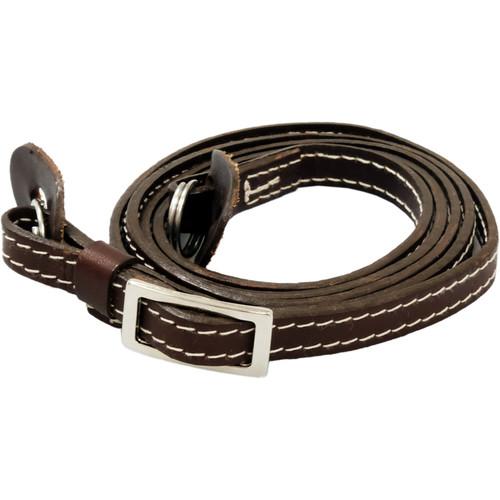 Oberwerth ELTZ Leather Camera Strap for Compact Cameras (Dark Brown with Beige Stitching)