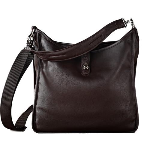Oberwerth Kate Multi-Functional Espresso Leather Ladies Bag (Dark Brown, Silver Fastenings & Buttons)