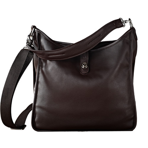 Oberwerth Kate Multi-Functional Espresso Leather Ladies Bag (Dark Brown, Silver Fastenings & Buttons)