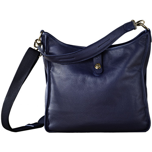 Oberwerth Kate Multi-Functional Gentian Leather Ladies Bag (Navy Blue, Gold-Plated Fastenings & Buttons)