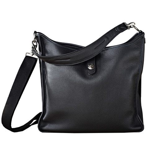 Oberwerth Kate Multi-Functional Black Leather Ladies Bag (Silver Fastenings & Buttons)