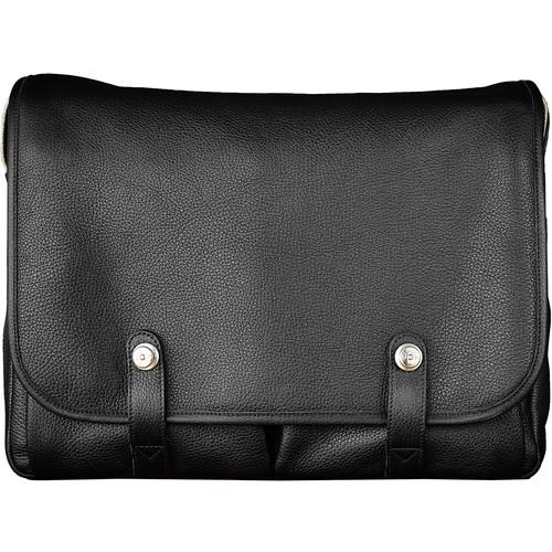"Oberwerth Richard Leather Messenger Camera Bag (Black with ""L"" Red Insert)"