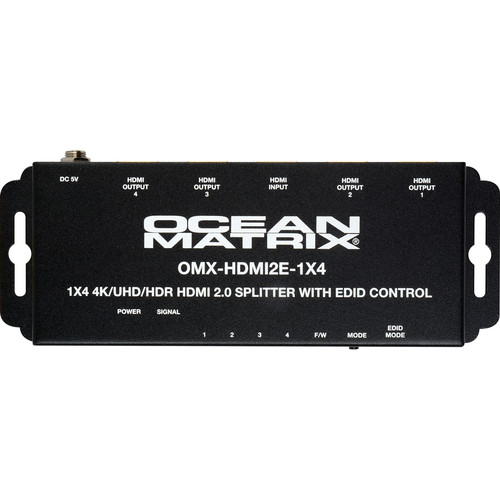 Ocean Matrix 1x4 UHD 4K HDMI 2.0 Distribution Amplifier with HDR & EDID Control