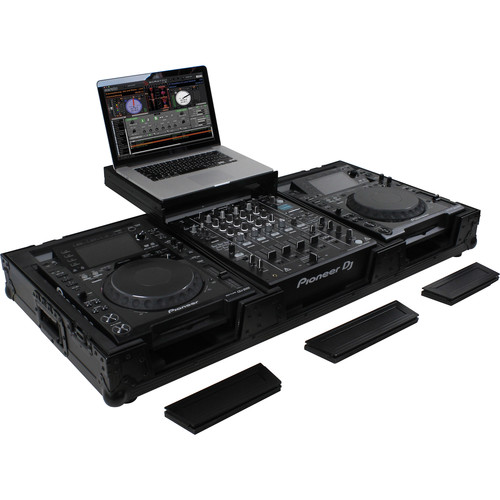 """Odyssey Innovative Designs Flight FX Low-Profile Glide Style DJ Coffin with Wheels for 12"""" Format Mixer & Two Large Format Tabletop Players"""
