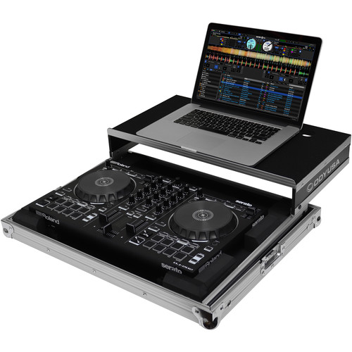 Odyssey Innovative Designs Flight Ready Low Profile Glide Style Case for Roland DJ-202 Serato DJ Controller (Black and Silver)