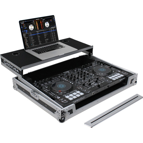 Odyssey Innovative Designs Flight Case with Removable V-Cut Front Access Panels & Glide Style Gear Platform for Denon MC7000 DJ Controller