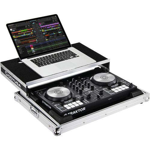 Odyssey Innovative Designs Flight Ready Low-Profile Case with Glide Platform for Native Instruments Traktor Kontrol S2 MK3 (Silver/Black)