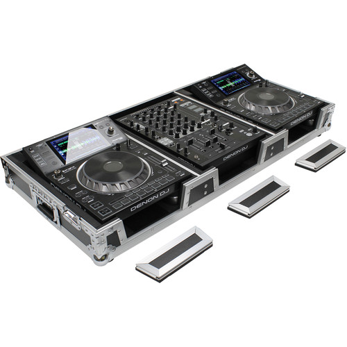 Odyssey Innovative Designs DJ Coffin for Two Large Format Tabletop CD/Media Players & Mixer with Wheels & Extra Deep Rear Cable Space