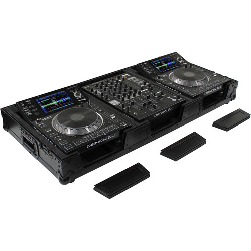 Odyssey Innovative Designs DJ Black Label Coffin for Two Large Format Tabletop CD/Media Players & Mixer with Wheels & Extra Deep Rear Cable Space