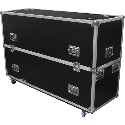 """Odyssey Innovative Designs Flight Zone Wheeled Case for Two 60 to 65"""" Flat-Screen Monitors"""
