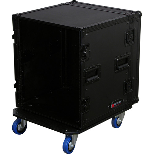 Odyssey Innovative Designs Black Label 12-Space Amp Rack Casewith Wheels
