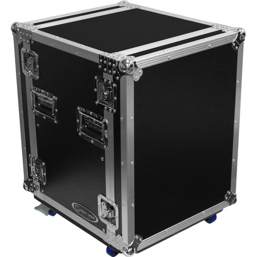 Odyssey Innovative Designs Flight Zone 14 RU Amplifier Rack Case with Front/Back Rack Rails and Wheels