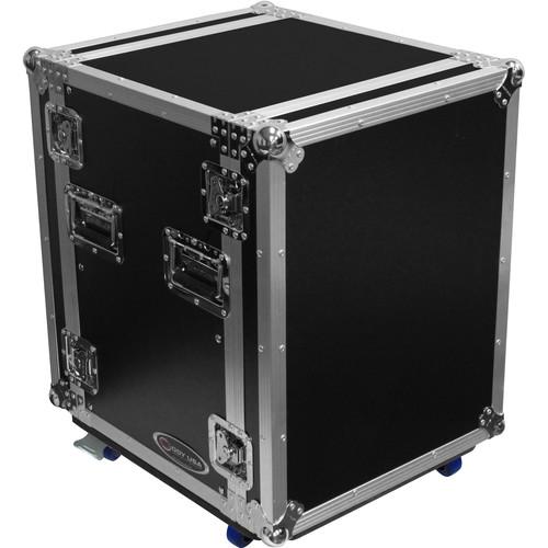 Odyssey Innovative Designs Flight Zone 14 RU Pro Amp Rack Flight Case with Wheels and Dual Rails