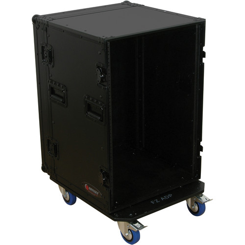 Odyssey Innovative Designs Black Label 16-Space Amp Rack Case with Wheels