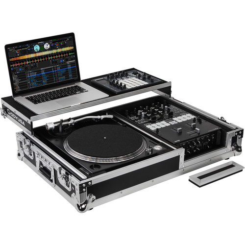 Odyssey Innovative Designs Flight Zone Universal Single Turntable Coffin with Glide-Style Platform and Wheels (Black and Silver)