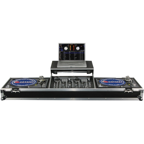 "Odyssey Innovative Designs Flight Zone Glide-Style DJ Coffin for 19"" Mixer & Two Turntables"