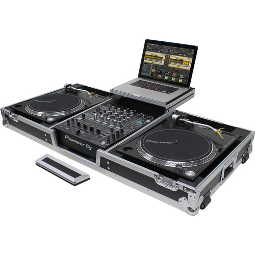 """Odyssey Innovative Designs Flight Zone Low Profile Glide Style DJ Coffin for 12"""" Mixer, Two Turntables (Battle Position) & Extra 2 RU"""