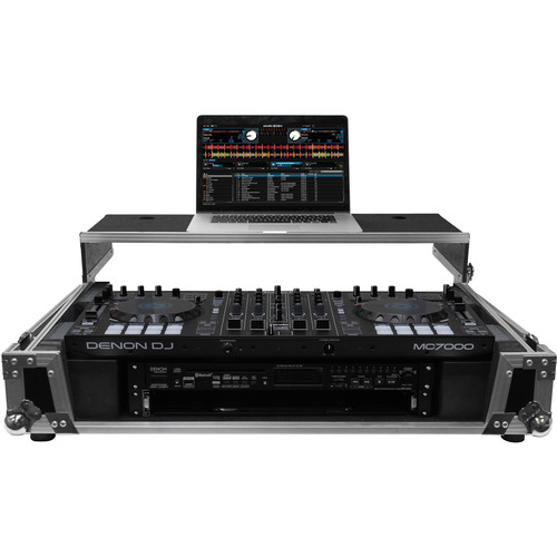 "Odyssey Innovative Designs Flight Zone Denon MC70000 DJ Controller Glide Style Case with Lower 19"" 2U Rack Space (Silver/Black)"
