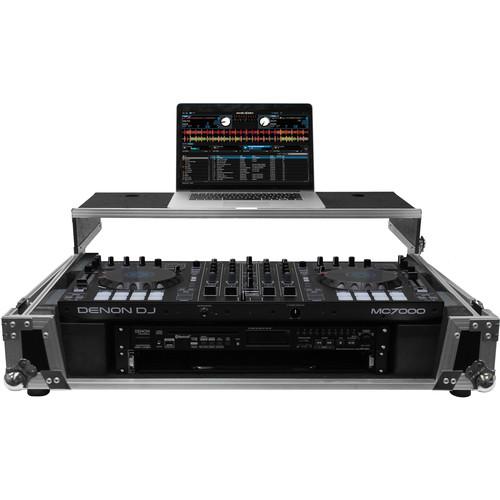 "Odyssey Innovative Designs Flight Zone Denon MC70000 DJ Controller Glide Style Case with Lower 19"" 2U Rack Space (Silver/Black)"