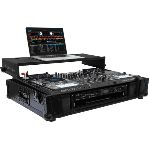 "Odyssey Innovative Designs Denon MCX8000 DJ Controller Black Label Glide Style Case with Lower 19"" 2U Rack Space (Black)"