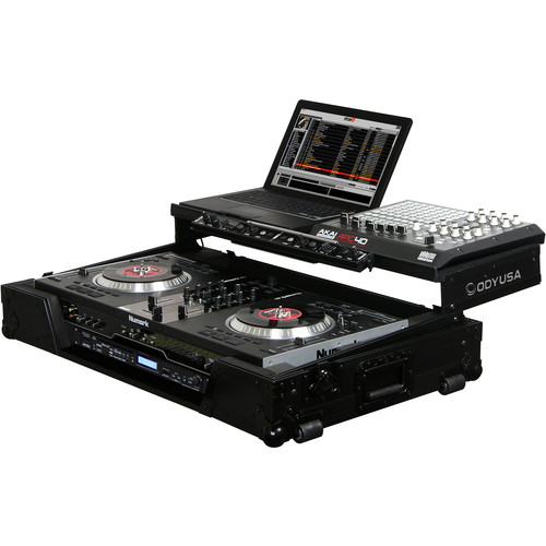 "Odyssey Innovative Designs Black Label Glide-Style Case with Lower 19"" 1 RU Rack Space for Numark NS7/NSFX Controller"