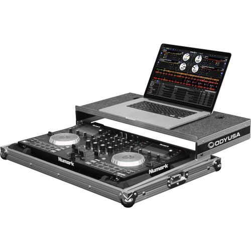 Odyssey Innovative Designs Flight Zone Glide Style Case with Shallow Bottom Reverse Lid Design for Numark NV DJ Controller (Silver)