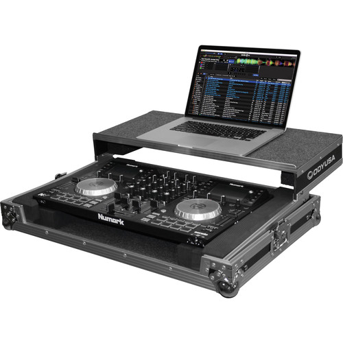 Odyssey Innovative Designs Flight Zone Glide Style Case with Removable V-Cut Front Access Panel for Numark NV DJ Controller (Silver)