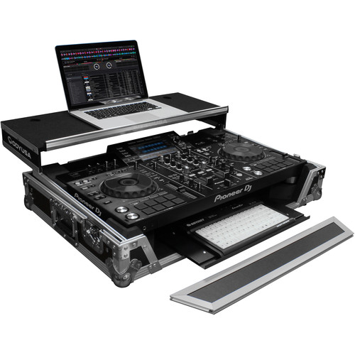 Odyssey Innovative Designs Flight Zone Glide Style Case for Pioneer XDJ-RX2 Controller with Bottom GT Glide Tray (Black and Silver)