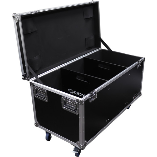 Odyssey Innovative Designs Flight Zone Utility Trunk Touring Case with Wheels, Caster Stacking Plates, and Dividers (Black)