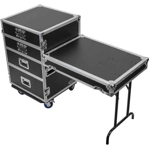 Odyssey Innovative Designs FZWB4WDLX Flight Zone Deluxe 4-Drawer Workbox Tour Case with Casters & Side Table
