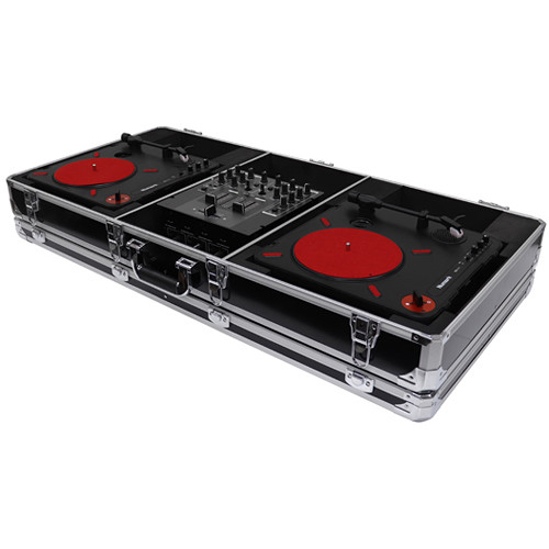 "Odyssey Innovative Designs Krom DJ Coffin for Two Numark PT01 Scratch Turntables and A Compact 10"" Format DJ Mixer (Black)"