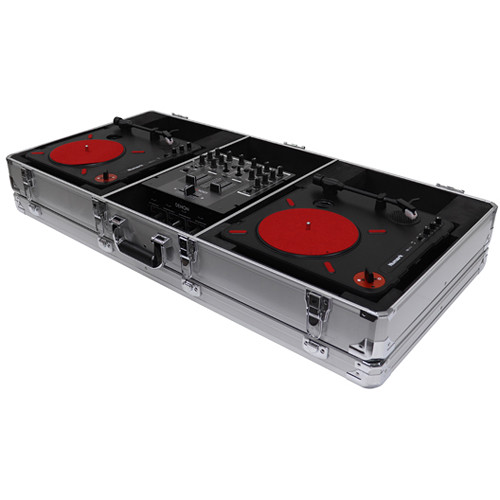 "Odyssey Innovative Designs Krom Series DJ Coffin for 2 x Numark PT01 Scratch Turntables + 10"" DJ Mixer (Silver)"