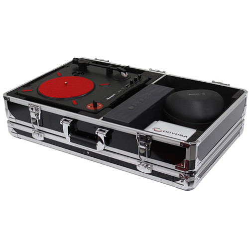 Odyssey Innovative Designs Krom Series Numark PT01 Scratch Portablist Turntable Case with Side Compartment (Black)