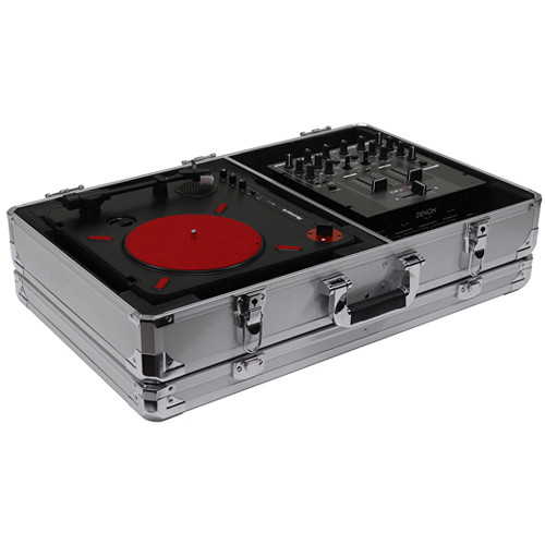 Odyssey Innovative Designs Krom Series Numark PT01 Scratch Portablist Turntable Case with Side Compartment (Silver)