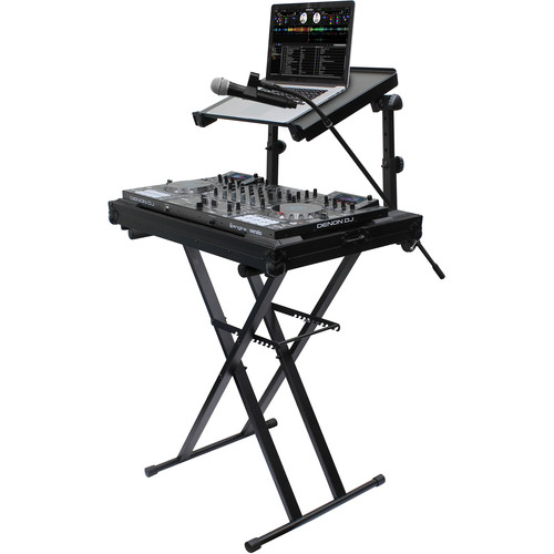 Odyssey Innovative Designs X-Stand Combo Dual-Tier Heavy-Duty Folding Stand with Microphone Boom & Laptop/Gear Shelf (black)