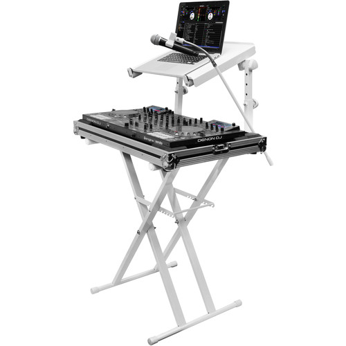 Odyssey Innovative Designs X-Stand Combo Dual-Tier Heavy-Duty Folding Stand with Microphone Boom & Laptop/Gear Shelf (white)