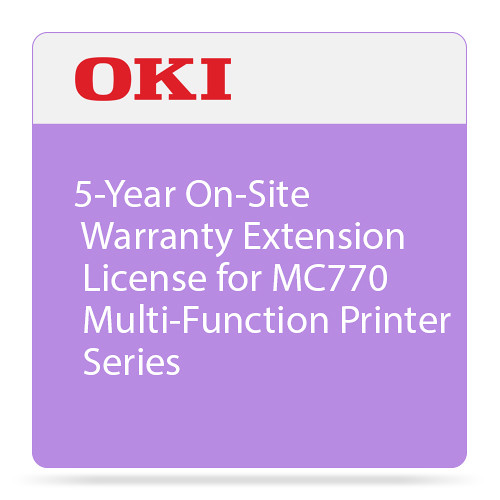 OKI 5-Year On-Site Warranty Extension License for MC770 Multi-Function Printer Series