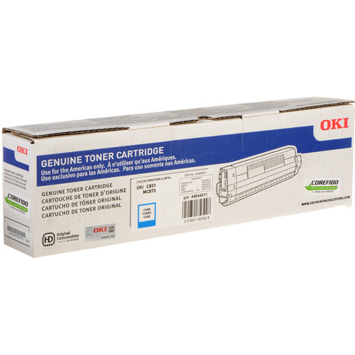 OKI 10K Cyan Toner Cartridge for C831 & MC873 Printers