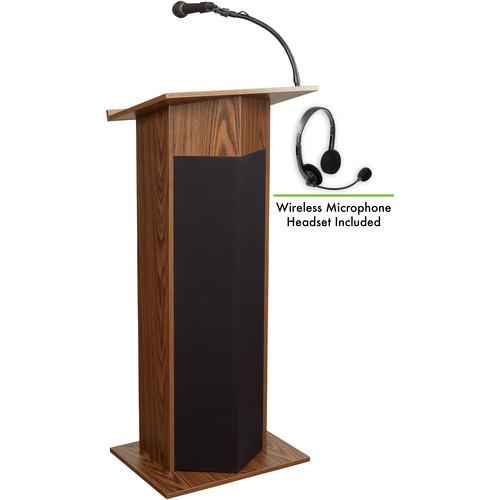 Oklahoma Sound 111PLS Power Plus Lectern with LWM-7 Headset Wireless Microphone (Medium Oak)