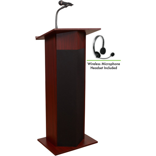 Oklahoma Sound 111PLS Power Plus Lectern with LWM-7 Headset Wireless Microphone (Mahogany)